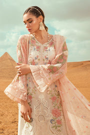 Embroidered Pakistani designer eid dress in white and pink color # E2207