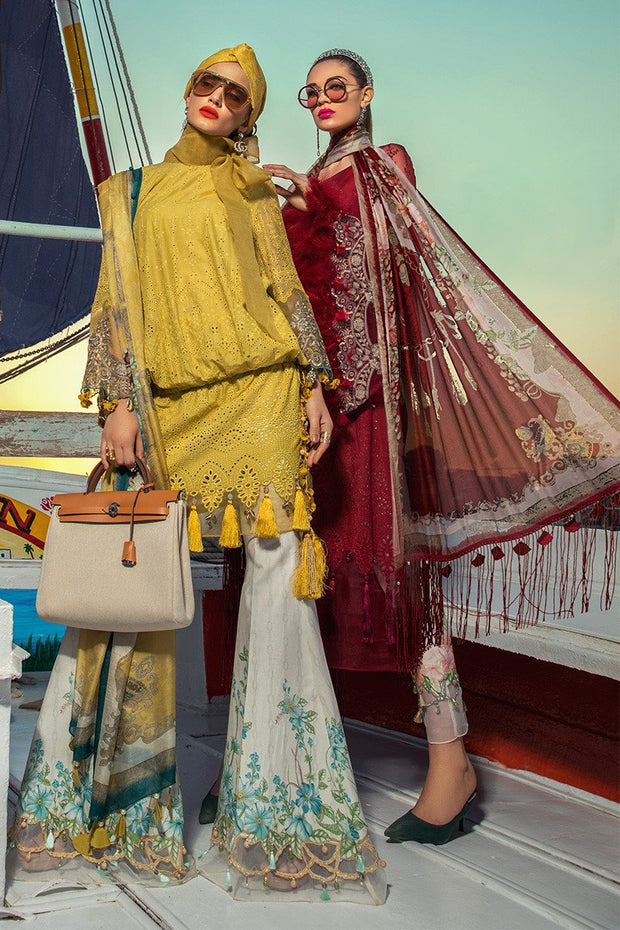 Latest Pakistani embroidered eid dress in mustard and white color # E2210