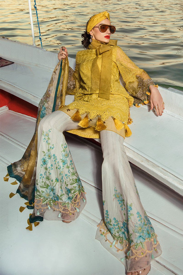 Latest Pakistani embroidered eid dress in mustard and white color