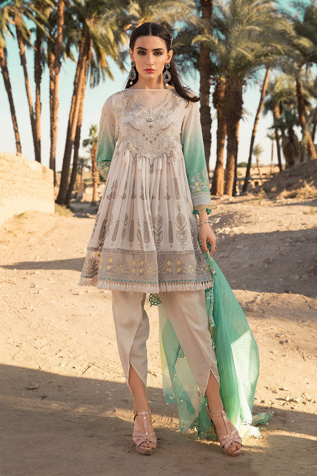 Latest Pakistani eid embroidered outfit in elegant off white color