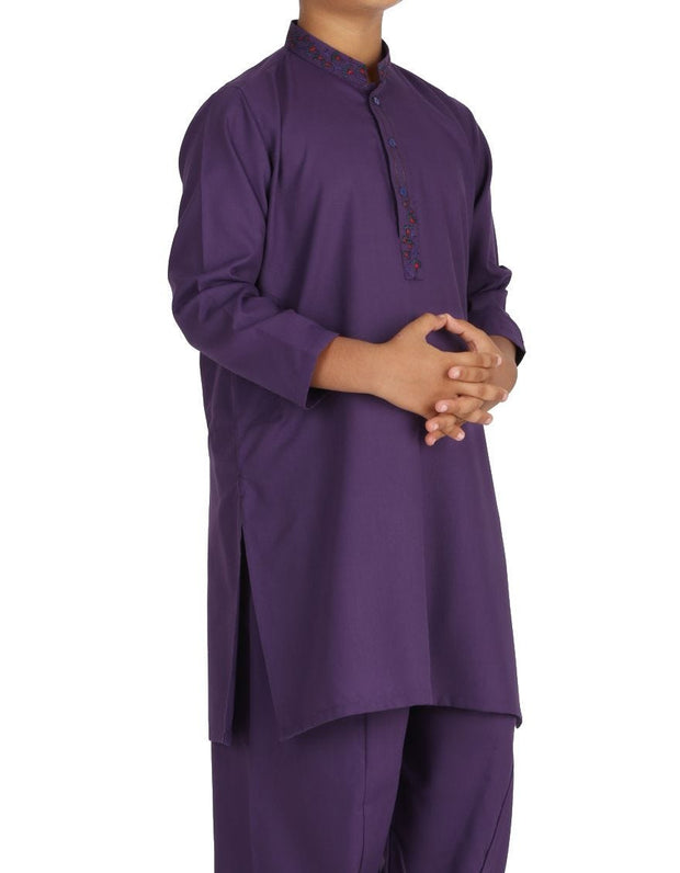 Beautiful designer Pakistani boy dress in dark purple color # K2311