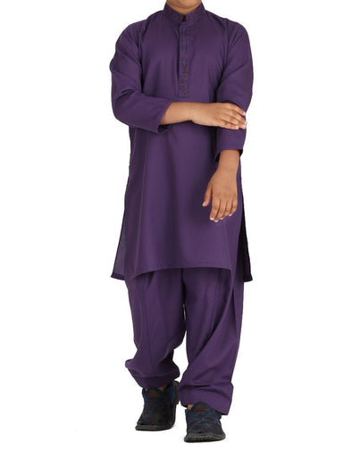 Beautiful designer Pakistani boy dress in dark purple color