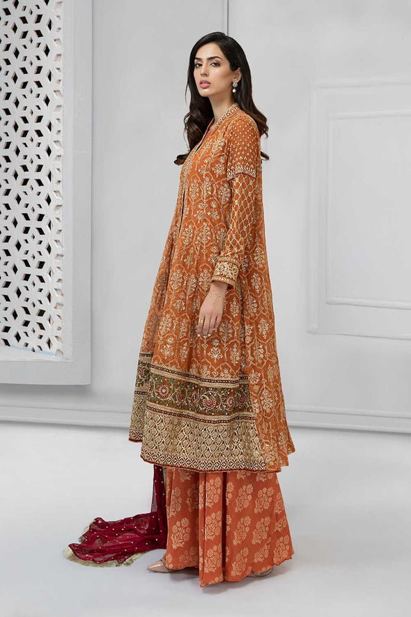 Latest Pakistani fancy outfit for party in shining rust color # P2233