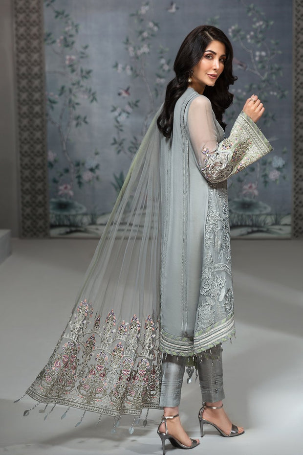 Pakistani Chiffon Party Wear in Grey Color