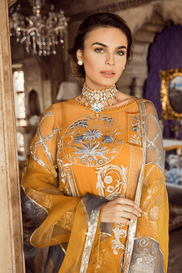 Party dress Pakistani in mustard color