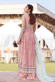 Latest designer embroidered party net outfit in lavish pink color