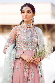 Latest designer embroidered party net outfit in lavish pink color # P2436