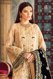 Latest designer embroidered party net outfit in gold color # P2439