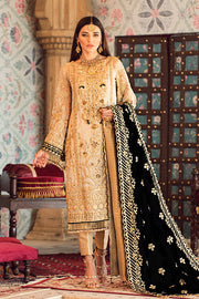 Latest designer embroidered party net outfit in gold color
