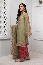 Party wear dress in green color with tilla embroidery # P2232