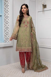 Party wear dress in green color with tilla embroidery