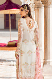 Latest designer embroidered party net dress in elegant white color # P2438
