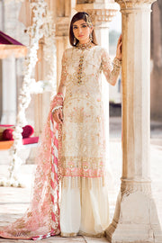 Latest designer embroidered party net dress in elegant white color