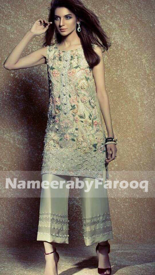 Pistachios Green Wedding Party Dress With Dabka Stone & Thread Work Model #P 171