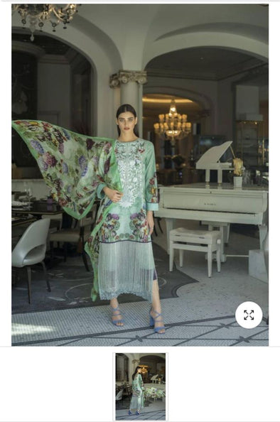 Premier Quality Pakistani Designer Lawn Suit with Silk Dupatta