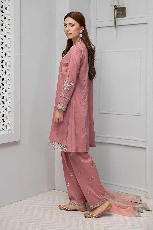 Elegant punjabi traditional dress in beautiful tea pink color
