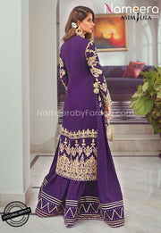 Purple Party Dress for Wedding with Embroidery Backside Look