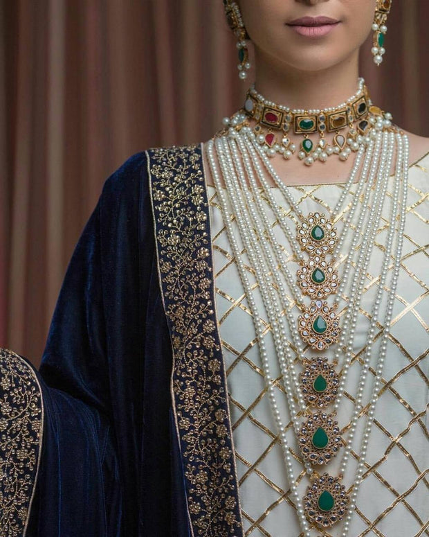 Elegant Rani Haar Full Bridal Set with Pearls Detailing