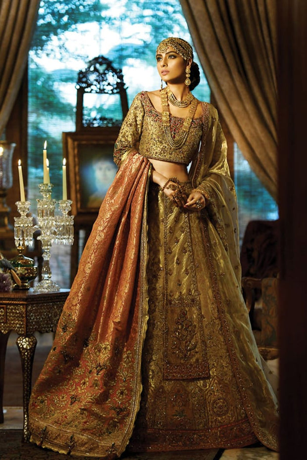 Raw Silk Bridal Lehnga Choli in Light Gold Color