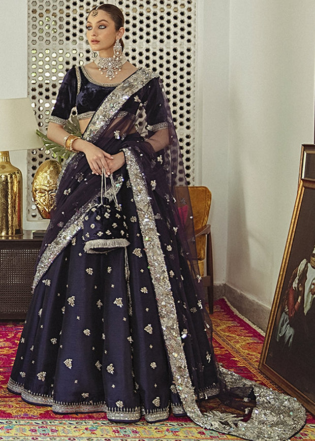 Raw Silk Lehnga with Velvet Choli