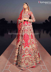 Red Lehenga for Bride by Pakistani Designer 2021 Overall Look