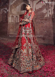 Red Lehenga for Bride by Pakistani Designer 2021 Side Look