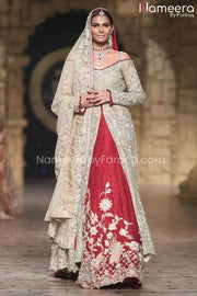Red Lehenga with Open Shirt Bridal Dress