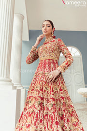 Golden and Red Bridal Dress