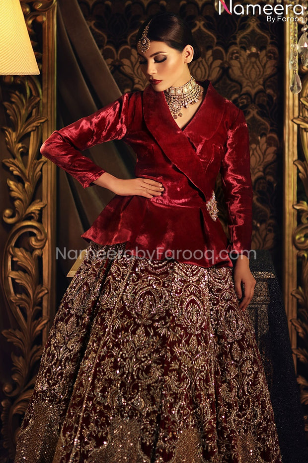 Red Velvet Bridal Lehenga with Jacket