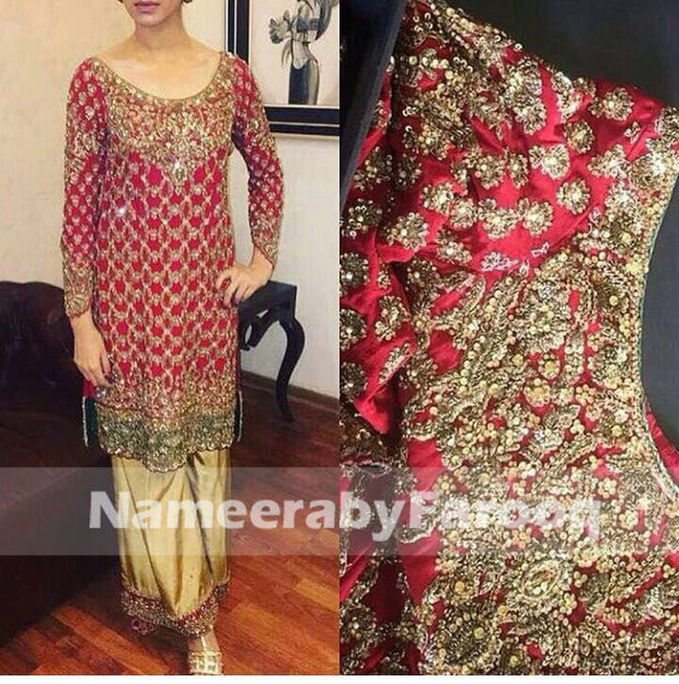 Classic Red Wedding Party Dress With Kundan Dabka Sitara Naqshe & Nugh Work