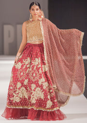 Designer red Indian bridal dress with beautiful embroidered work # B3348