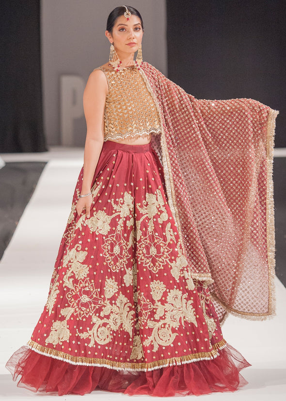 Designer red Indian bridal dress with beautiful embroidered work