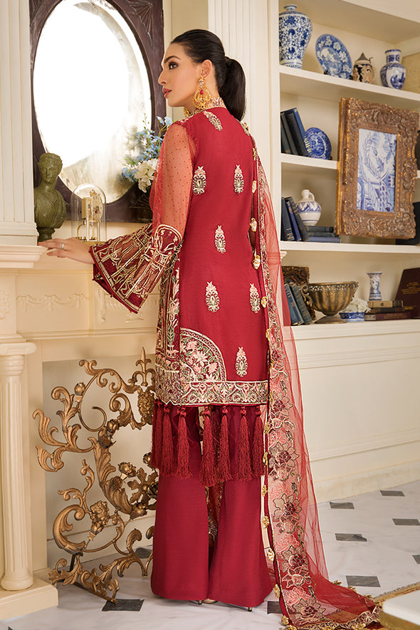 Pakistani Party Wear In Crimson Red Colour 2
