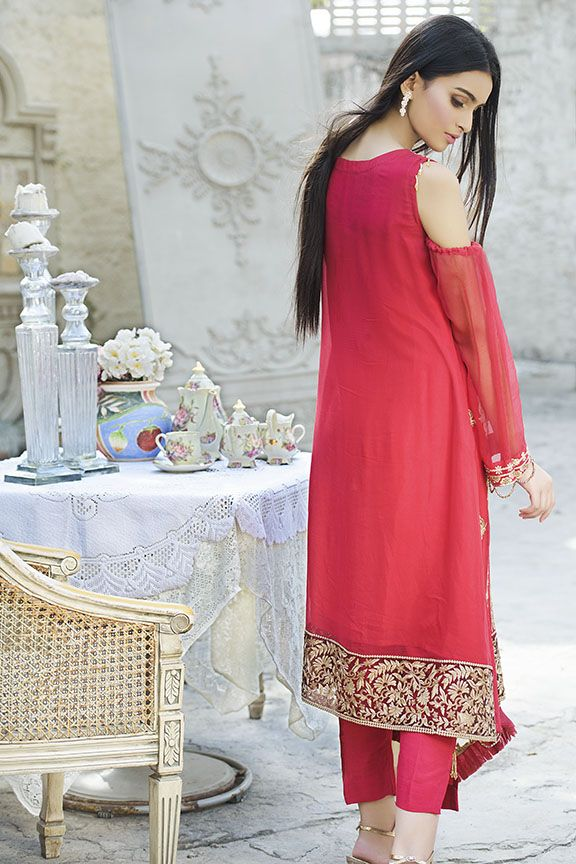 Lavish red crinkle chiffon dress for party wear # P2294