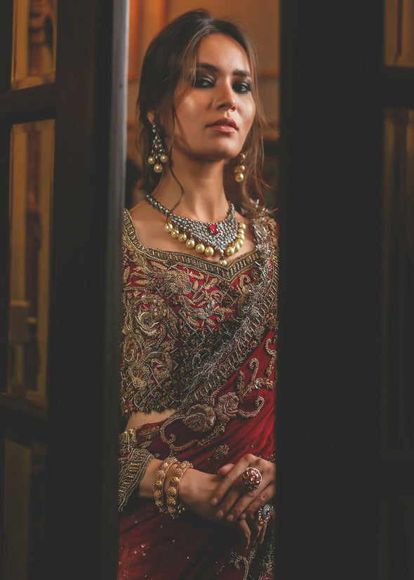 Beautiful red ghaghra choli bridal dress with alluring designing # B3333