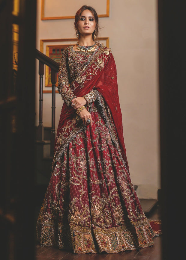 Beautiful red ghaghra choli bridal dress with alluring designing