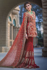 Elegant deep red ghaghra dress for bridal wear