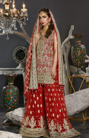 Pakistani Formal Dress of Deep Red Colour 2