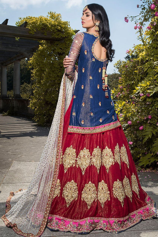 Beautiful Pakistani designer red lehnga choli dress for bridal # B3309
