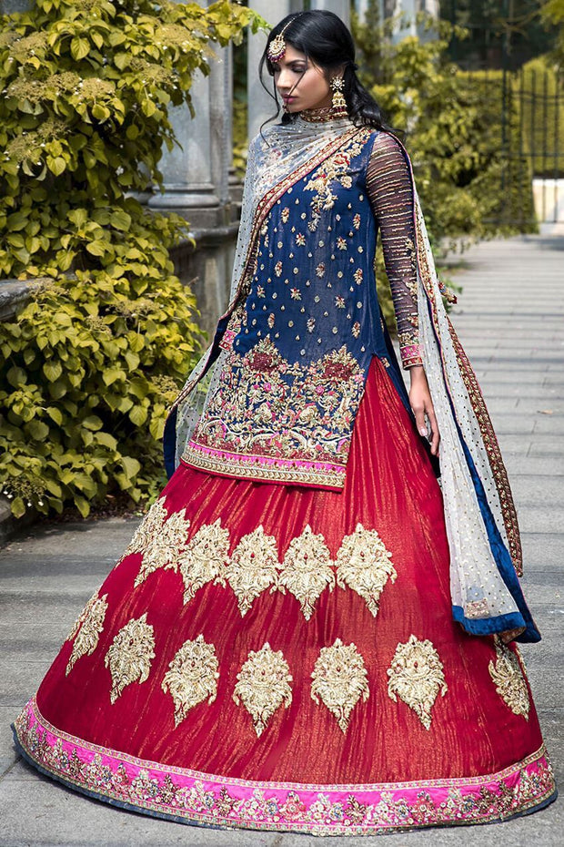 Beautiful Pakistani designer red lehnga choli dress for bridal