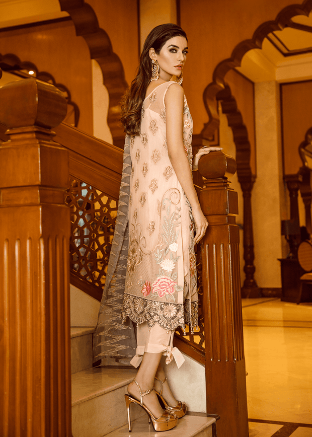 Pakistani sequins embroidered outfit in peach color # P2302