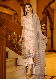 Pakistani sequins embroidered outfit in peach color