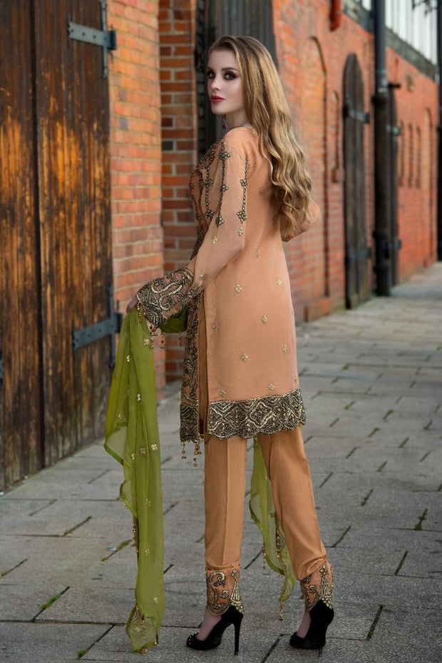 Sequins embroidered chiffon dress in dark peach color # P2313