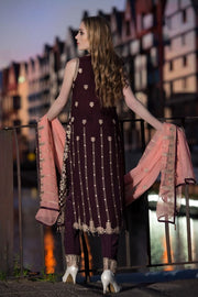 Sequins embroidered chiffon outfit in dark maroon color # P2314