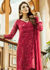 Beautiful thread and sequins embroidered dress in red color # P2300