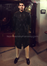 Sherwani Black 2021 for Groom with Embroidery