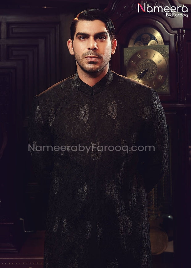 Sherwani Black 2021 for Groom with Embroidery Close Up