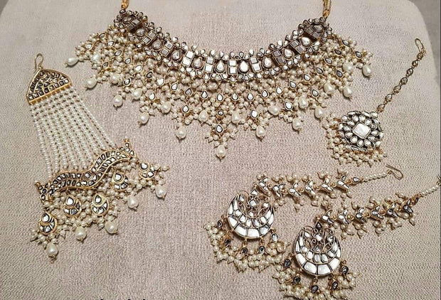 Silver Kundan Necklace Set For Bride