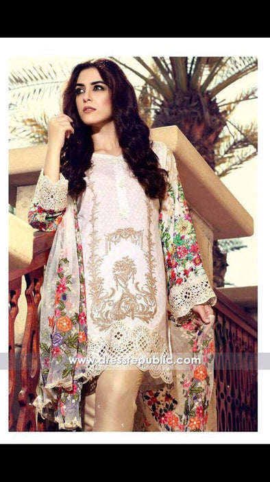 Skin Multi-Color Floral Design Net Dupatta Lawn Dress
