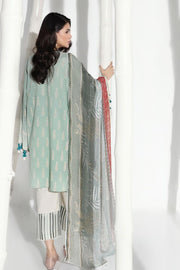 Pakistani embroidered slub dress for casual wear in mint green color # P2397